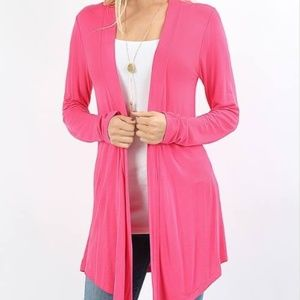 Zenana Outfitters Tops - DRAPEY OPEN-FRONT LONG SLEEVE CARDIGAN